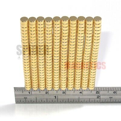 Tiny magnets 3x2 mm N52 neodymium disc GOLD plated craft jewellery 3mm dia x 2mm