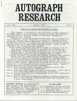 Autograph Research #20 August 1992 newsletter; autograph changes over the years