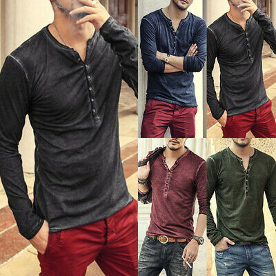 Hommes Boutons Col Rond Manches Longues Slim Fit Blouse Haut Plage Pull T-Shirts