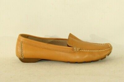 Women's Tan Leather CLAUDIA OBERT Slip On Loafers Mocassin Boat Shoes 3.5 / 36.5
