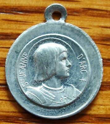 ANTIQUE aluminum RELIGIOUS MEDAL ST JOAN OF ARC IN ARMOR SIGNED ESCUDERO,JEANNE