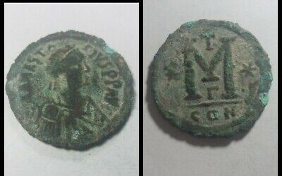 "Coin Anastasius I Byzantine Emperor Constantinople 491-518 AD Large ""M"" AE 37mm"