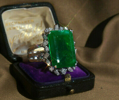 Gia 18K Emerald Diamond Certified Russian Natural Ring Vintage Huge 13.70 Cts
