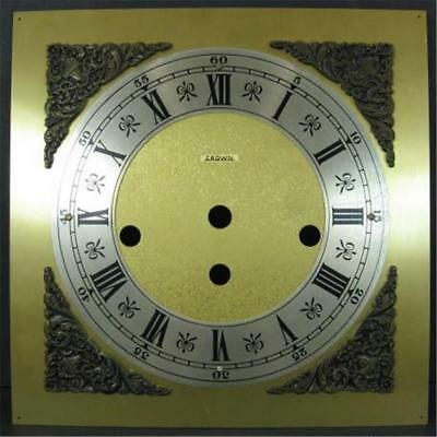 "Crown Brass Clock Dial Face 3 Key Holes 8 x 8in 3/8"" holes"