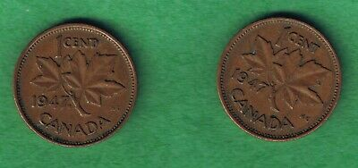 1947 Canada Canadian One Cent Penny 2 Coin Lot 1947 and 1947 ML Circulated~Nice