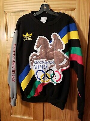 ADIDAS MEDIUM Vintage 1980s Olympic Sweatshirt Helsinki 1952 Stockholm 1956