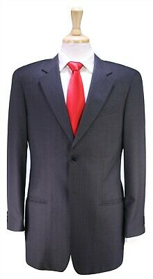 ARMANI COLLEZIONI Recent Gray Striped 2-Btn Super 150's Wool Suit Flawed 38R