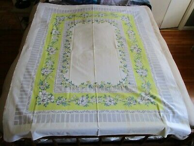 Vintage Linen Spring Summer Flowers Floral Lily Valley Posies Themed Table Cloth