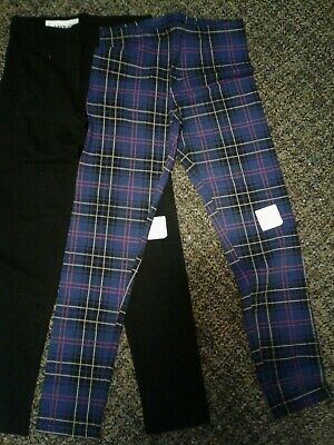 2 Pair Old Navy Leggings Girls XL14 Black & Navy Plaid NWT