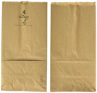 Duro Paper Bags, Sack Lunch Bags, 4 lb, Brown, 500 Count