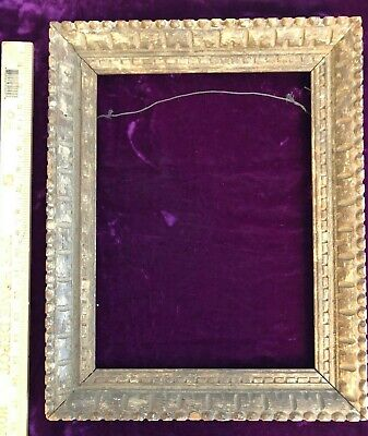 """Rare Antique Rustic Carved Wood Picture Frame 13 1/2"""" X 17 1/4"""" Arts & Crafts"""