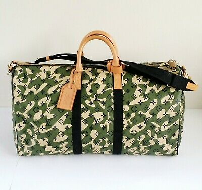 Authentic Rare Louis Vuitton Monogramouflage Murakami Bandouliere Keepall 55