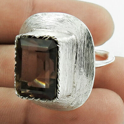 Natural SMOKY QUARTZ Gemstone Ring Size S 925 Silver HANDMADE Jewellery AM22