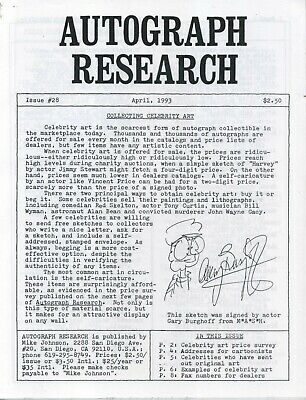 Autograph Research #28 April 1993; collecting original celebrity art with prices