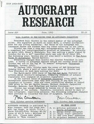 Autograph Research #30 June 1993; Bill Clinton is the rising star of autographs