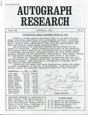 Autograph Research #33 September 1993; inscriptions lower values by 30% study