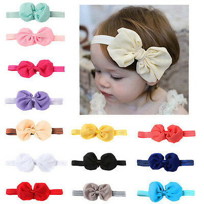 14x Headband Kids Girl Baby Toddler Bow Flower Hair Band Accessories Headwear ZW