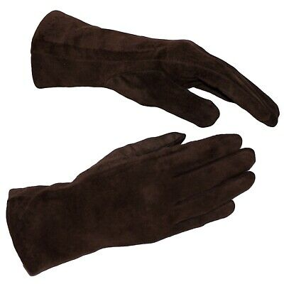 Black Leather Gloves Womens Winter Gloves Wool Soft Brown Leather Suede Glove