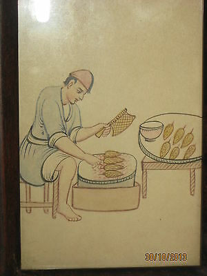 HAND PAINTING ON PAPER PEASANT COOKING CORNS FOR SALE MIDDLE EAST 1940's VINTAGE