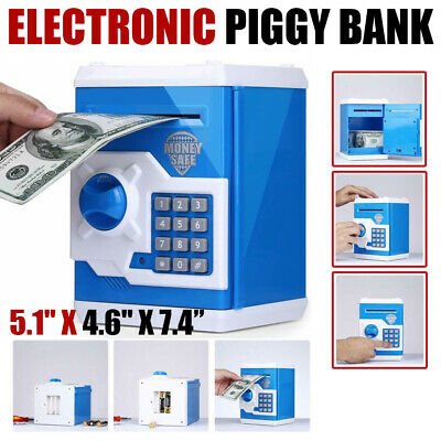 Coin Saving Money Box Jar Automatic Electronic Counting Piggy Bank ATM Blue