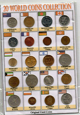 Lot 20PCS Different Countries Asia Europe USA Gulf Old AUNC World Coins+Details