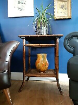 Antique Victorian Tiger Bamboo 2 Tier Conservatory Plant Side Lamp Table
