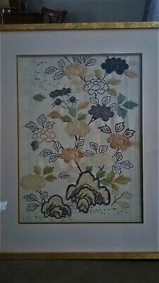 Chinese Silk Flower Embroidery --Framed