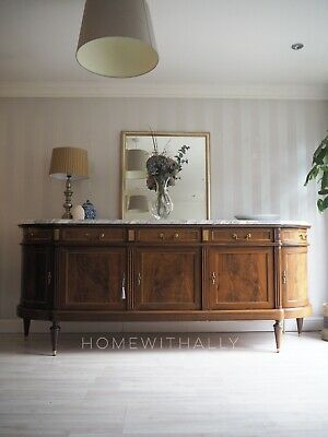 Large Vintage French Louis Xvi Style Mahogany Sideboard With Marble Top