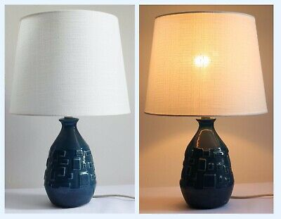 Vintage Mid Century 70's Teal Blue Pottery Table Lamp Light Base & Shade