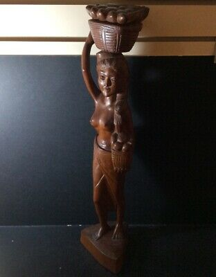 Vintage Balinese Indonesian Carved Wooden Figure Of Woman Carrying Fruit Baskets