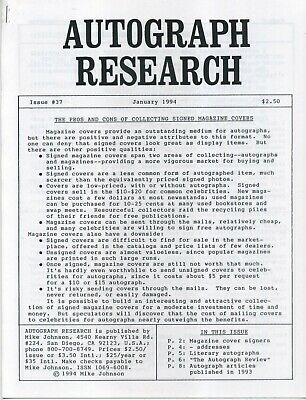 Autograph Research #37 January 1994; pros and cons of signed magazine covers