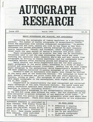 Autograph Research #39 March 1994; magician autograph overview and sources