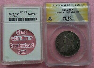 1814 O-102a (Heavy Clashing on & in Shield) Capped Bust Half ANACS VF30