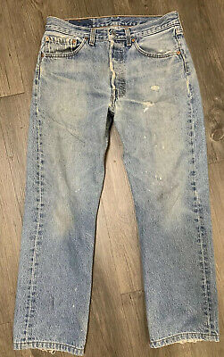 VTG Levis 501 Button Fly Distressed Jeans Size 30 X 27 Made USA