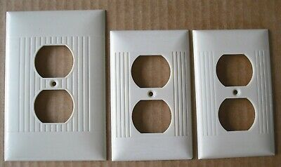 3 Vintage Sierra Electric Outlet Plate Cover 1 Oversize Art Deco Ribbed Bakelite
