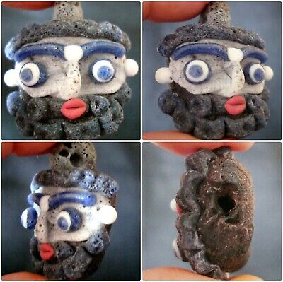 Ancient Phoenician Mosaic Bearded Face Glass Bead Energy Lucky Totem Pendant 213