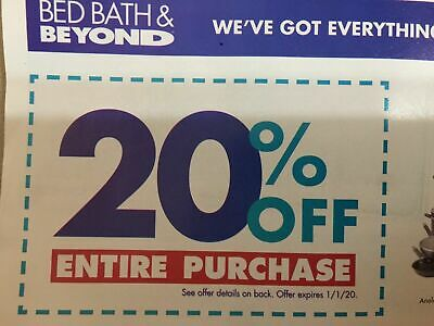 Bed Bath & Beyond Couponn 20% off ENTIRE PURCHASE In-Store & Online Digital Emai