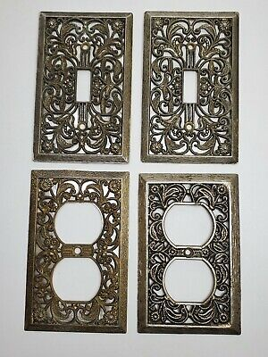 Vintage Brass Light Switch and Outlet Plate Covers - Lot of 4