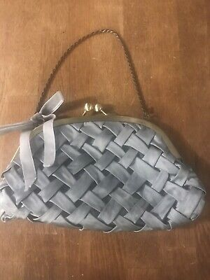 Lovely Principles Small Grey Satin Evening Bag With Velvet Bow & Chain Handle