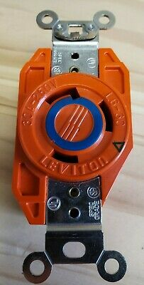 Hubbell Twist-Lock IG2620 30A 250V L6-30 Isolated Ground Receptacle Orange