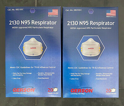 MADE IN USA - 40 TOTAL N95 Respirator Particulate Mask Surgical NIOSH APPROVED