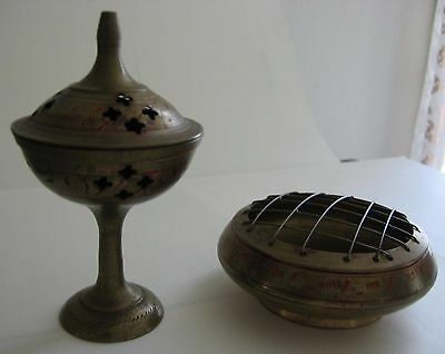Lot of 2 Brass Incense Burners Engraved India