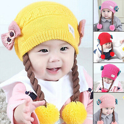 Baby Toddlers Girls Knitted Thermal Winter Warmer Beanie Cap Braid Outdoor Hat
