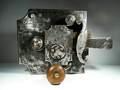 17Th Century Large Primitive Hand Made Wrought Iron Church Door Lock Antique