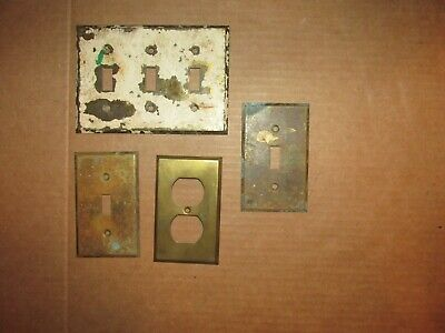 Antique Brass Electrical Cover Plates Architectural Salvage AS IS