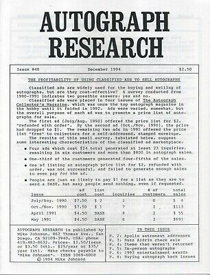 Autograph Research #48 December 1994; Apollo astronaut signing habits, addresses
