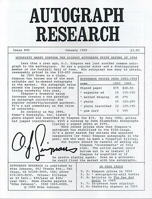 Autograph Research #49 January 1995; O.J. Simpson autograph prices and habits