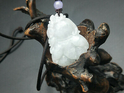 Chinese Hand-carved aristocratic wearing Jadeite jade pendant White Bergamot
