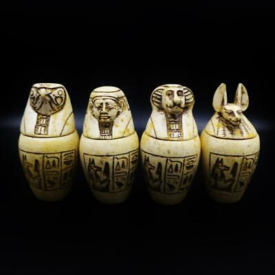Fine Antique Egyptian Stone Set 4 Canopic Jars (Organs Storage Statues)..LARGE