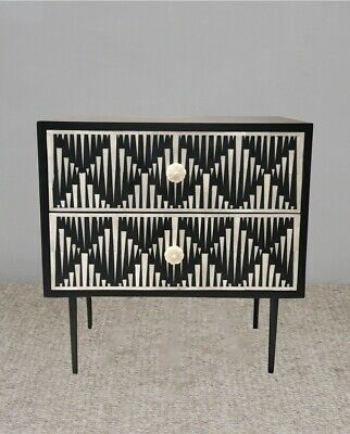 bone inlay bedside table 2 drawer water fall pattern indian handmade Modern